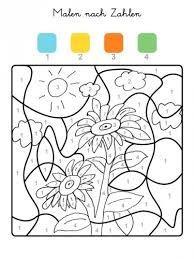 ausmalbild malen nach zahlen: sonnenblume ausmalen kostenlos ausdrucken | Орнаменты и раскраски