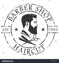Find Barber Shop Logo Template stock images in HD and millions of other royalty-free stock photos, illustrations and vectors in the Shutterstock collection. Salon Interior Design, Beauty Salon Design, Man Cave Barber, Beard Logo, Barber Logo, Mens Hairstyles With Beard, Barber Shop Decor, Beard Art, Barbershop Design