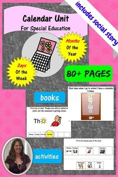 Perfect for back to school.  This 80+ page unit was designed for students with autism and others in a special education classroom.  It reviews days of the week and months of the year.  There are books and activities to go with each story.  In addition, th