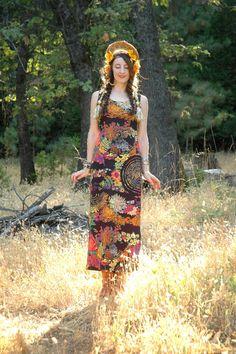 Größe Small... Jahrgang der 1960er Jahre psychedelische Maxi Kleid... Geist weht Muster... WELLEN