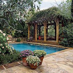 Creative Home Expressions: Porches, Patios & Decks Outdoor Rooms, Outdoor Gardens, Outdoor Living, Beautiful Pools, Beautiful Gardens, Porches, Pool Porch, Br House, Garden Pool