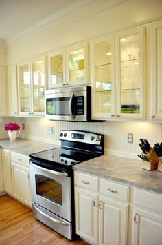 Beadboard backsplash painted blue with white cabinets for Perfect kitchen description