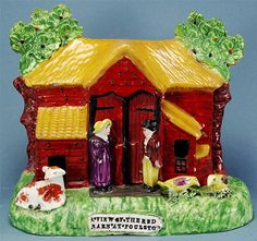 """""""The Red Barn"""" a century Staffordshire Pottery group, based on the notorious slaying in 1827 of young Maria Marten, shot and buried in a barn by her lover William Corder Folk Art, 19th Century, Gazebo, Barn, Pottery, Ceramics, Red, Group, Ceramica"""