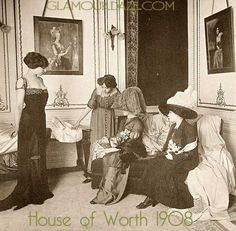 House of Worth 1908. Armed with copies of Les Modes, you would browse through the latest works of the Grand Couturiers like Poiret, Worth, Callot Soeurs, Jeanne Paquin,Madeleine Chéruit and so on, for inspiration on how to outshine your friends, not to mention enemies!