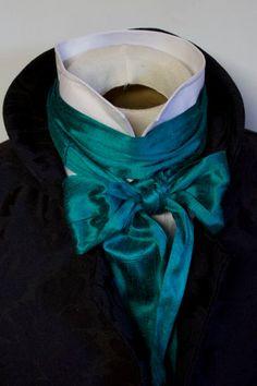 Extra Long mince cravate REGENCY Ascot Cravat bleu méditerranéen Dupioni SILK