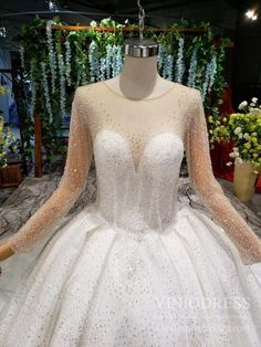 Lace Beaded Wedding Dresses Lone Sleeve Bridal Gown VW1514 – Viniodress Bodice Wedding Dress, Wedding Dress Train, Long Wedding Dresses, Princess Wedding Dresses, Tulle Ball Gown, Ball Dresses, Vintage Lace Weddings, Gorgeous Dress, Beaded Lace