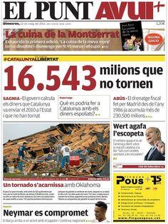 Los Titulares y Portadas de Noticias Destacadas Españolas del 22 de Mayo de 2013 del Diario El Punt Avui ¿Que le parecio esta Portada de este Diario Español?