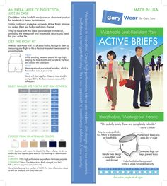 The GaryWear Brief package insert has sizing information, and information on correct fit. Just In Case, Confidence, Believe, Fitness, How To Make, Products, Gadget, Self Confidence