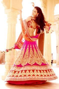 Pink, red and gold bridal lehnga by Barcode91.com via IndianWeddingSite.com