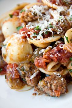 Orecchiette with Caramelized Eggplant and Spicy Pork Ragu. Always add some grated on the top of your Pasta. Tortellini, Orzo, Ravioli, Pork Ragu, Pasta Casera, Great Recipes, Favorite Recipes, Homemade Pasta, Gnocchi