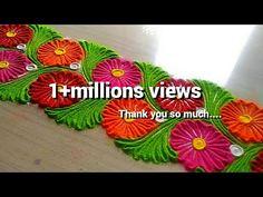 How to make easy and simple/unique border rangoli designs by Jyoti Rathod,rangol. Simple Flower Rangoli, Rangoli Designs Flower, Rangoli Border Designs, Small Rangoli Design, Colorful Rangoli Designs, Rangoli Ideas, Rangoli Designs Diwali, Diwali Rangoli, Beautiful Rangoli Designs
