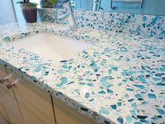 Contemporary Bathrooms from Catherine Nakahara on HGTV Recycled glass counter-top for bathroom