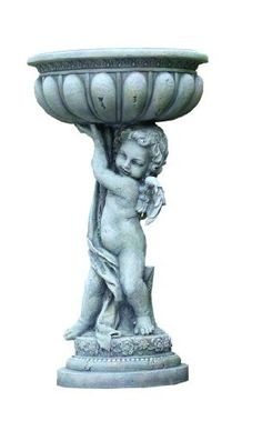 Napco Cherub Planter, 21-1/2-Inch Tall by Napco. $111.53. 21-1/2-Inch tall by 9-3/4-inch diameter. Stone-look cherub stands on a decorated platform. Planter features a winged cherub holding a decorative bowl that can be used as a planter or bird bath. Made of resin for durability and long lasting beauty. Looks at home in any yard or garden; use indoors or out. Cherub Planter adds a touch of old world charm to any decor, indoors or out. Crafted of resin for long-lasting...