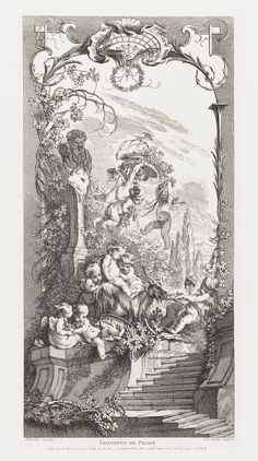 Print, Design with Triumph of Priapus, 1737. Designed by Francois Boucher, etched by Claude-Augustin Duflos. Engraving.