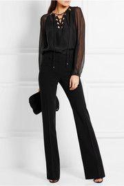 AltuzarraBenny cutout georgette-paneled silk blouse