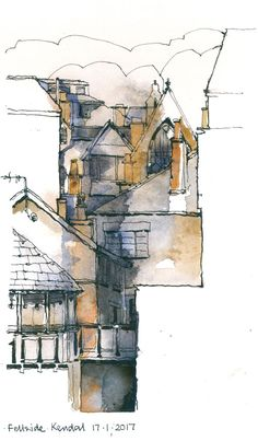 I am an artist and art tutor based in Cumbria. Art Tutor, Cumbria, Drawing Ideas, Watercolors, Buildings, Sketches, Gray, Drawings, Artist