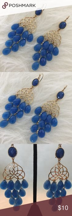 """Marine Blue Chandelier Earrings NWT-So cute and perfect dressed up or down! Stunning lightweight faceted plastic stones accented by gold tone metal. Fish Hook wires. 3""""drop. No Trades. TB1306. BCBG Jewelry Earrings"""