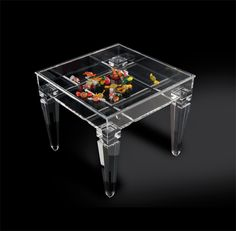 Display side table in acrylic 'Ricordami' , mm 500x500h450