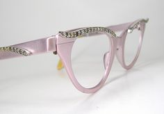1950s Pink Rhinestone Tura Pin Up Cat Eye Eyeglasses