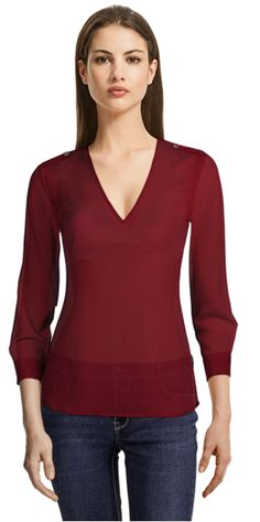 Alexandra V-neck blouse in Red V Neck Blouse, Sleeveless Blouse, Collar Styles, Suits For Women, Put On, Basic Tank Top, Womens Fashion, Fashion Trends, Neckline