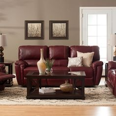Jerome's offers a large selection of affordable living room furniture with same day delivery. Create your dream living room without breaking the bank today! Leather Living Room Furniture, Living Room Leather, Burgundy Sofa Living Room, Couches Living Room, Leather Couches Living Room, Burgundy Living Room, Red Living Room Decor, Leather Sofa Decor, Living Room Wall Color