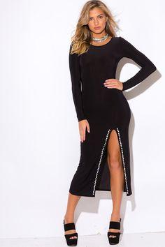 Trendy Embellished Slit Black Party Evening Dress