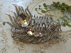 Romantic shaped feather rhinestones crystals wedding bridal hair comb