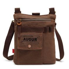 30b80e15424b AUGUR Men Multifunctional Canvas Shoulder Crossbody Bag Genuine Lether  Casual Messenger Bag