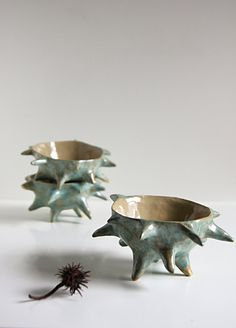 spiky chestnut bowl, stoneware sculptural art bowl, pottery dish, cedar green and beige, handshaped by karoArt ceramics, Ireland. €37.00, via Etsy.