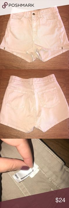 American Apparel: Kaki Jean Shorts Perfect condition, worn once. Size: 26/27. Zippers on the side American Apparel Shorts Jean Shorts
