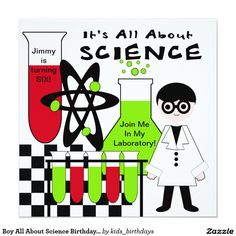 "Boy All About Science Birthday Party Invitation 5.25"" Square Invitation Card"