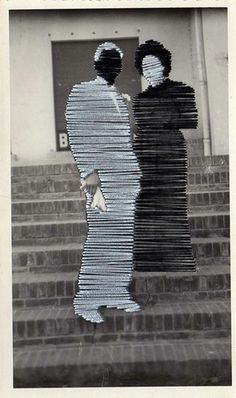 Flore Gardner Ghosts (White Wedding, Black Wedding) [Couple on Stairs], 2012 Embroidered Photograph Photomontage, Mises En Page Design Graphique, Bordados E Cia, Atelier D Art, Kunst Online, Photo Images, Experimental Photography, Contemporary Embroidery, A Level Art