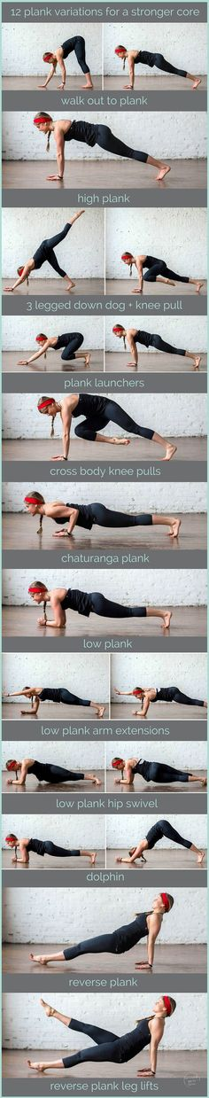 Crush your core with 12 plank variations. Turn in to a 7 minute plank challenge and get abs bikini ready by summer.
