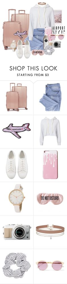 """aiRPoRT ReaDY"" by brie-the-pixie ❤ liked on Polyvore featuring CalPak, Essie, Stoney Clover Lane, Monrow, BaubleBar, Miss Selfridge, Topshop, Sheriff&Cherry, airportstyle and summer2017"