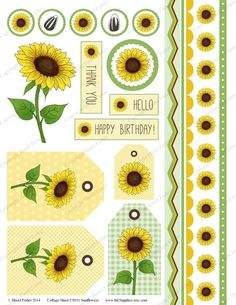 Sunflowers Printable Collage Sheet  CS011 tags by hfcSupplies, £3.00 (For Cards)  https://www.etsy.com/listing/200561914/sunflowers-printable-collage-sheet-cs011?ref=sr_gallery_29&ga_search_query=Yellow+digital+borders+&ga_page=6&ga_search_type=all&ga_view_type=gallery