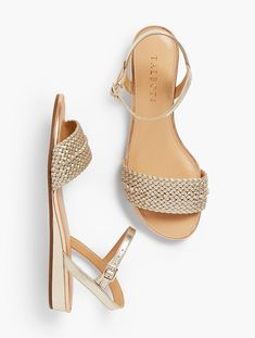 Daisy Micro-Wedge Sandals-Metallic | Talbots