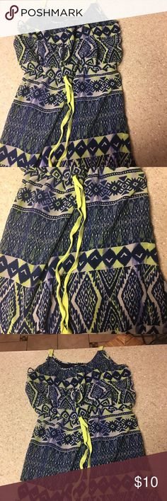 Summer dress Navy with bright yellow/line trim. This is short with spaghetti straps. Gently worn. Perfect for summer evenings. Dresses Mini