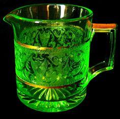 Vintage Green Etched Vaseline Glass Creamer by JulianosCorner, - SOLD