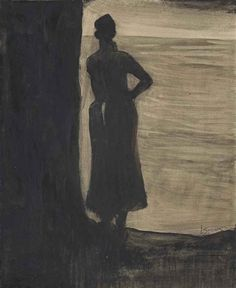 Leon Spilliaert - Attente; Creation Date:Circa 1902; Medium: brush and India ink and gouache on paper; Dimensions: 15.5 X 12.12 in (39.37 X 30.78 cm)