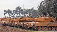 Türkei: Türkische Soldaten bereiten am 21.01.2018 im Reyhanlı-Distrikt in der Provinz Hatay in der Türkei ihre Leopard-2A4-Panzer auf den Einsatz vor.
