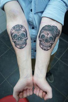 sugar skull forearm tattoos - Hugosalvation #handinglovetattoo #sugarskull