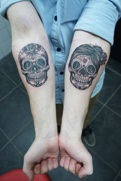 sugar skull forearm tattoos - Hugosalvation #handinglovetattoo #sugarskull