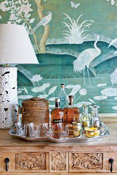 Interior designer Phoebe Howard, chinoiserie wallpaper, green
