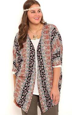 5b0ec688f Deb Shops Plus Size Floral Boho Print Kimono with Elbow Length Sleeves  found on http: