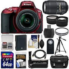 Kit includes:♦ 1) Nikon D5500 Wi-Fi Digital SLR Camera & 18-55mm G VR II Zoom Lens (Red)♦ 2) Nikon 55-300mm f/4.5-5.6G VR Zoom Lens♦ 3) Nikon Deluxe DSLR Camera Case♦ 4) Transcend 64GB SecureD...
