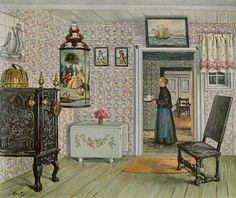 Jakob Alberts, Friesenstube von den Halligen, um 1900  Continental interior painting