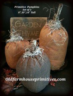 Primitive Pumpkins Set of 3 ( Made In USA )