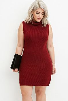 Plus Size Turtleneck Bodycon Sweater Dress | Forever 21 Plus - 2000180357