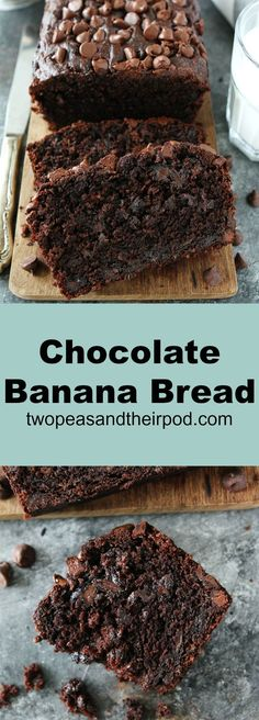 Chocolate Banana Bread is the BEST banana bread recipe EVER! It tastes more like chocolate cake, but you can still taste the banana flavor. You have to make this easy quick bread! #bananabread #chocolate #quickbread #bananas