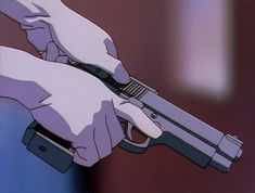 looks like a berreta but i think it's just inspired by the berreta - Best anime list Gun Aesthetic, Badass Aesthetic, Aesthetic Movies, Aesthetic Images, Retro Aesthetic, Aesthetic Anime, Anime Gifs, Sad Anime, Manga Anime
